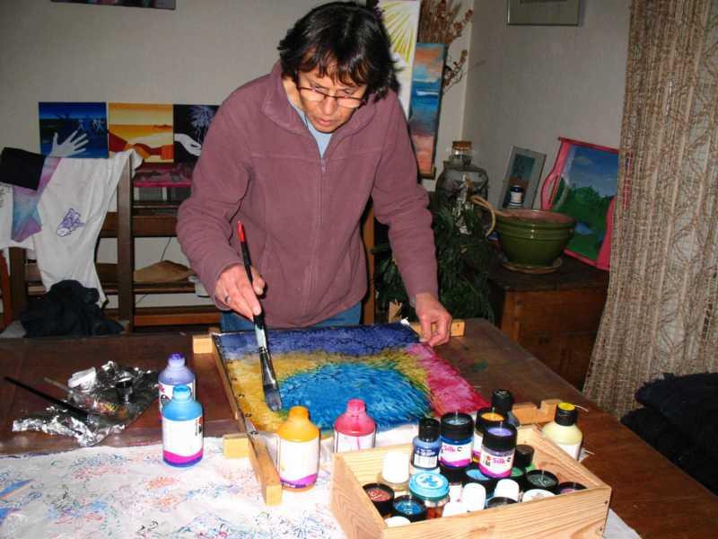 Marie maz artiste peintre for Technique de peinture sur soie en video
